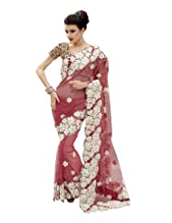 Fabdeal Indian Designer Net Light Pink Embroidered Saree-PFHSR1358PTG