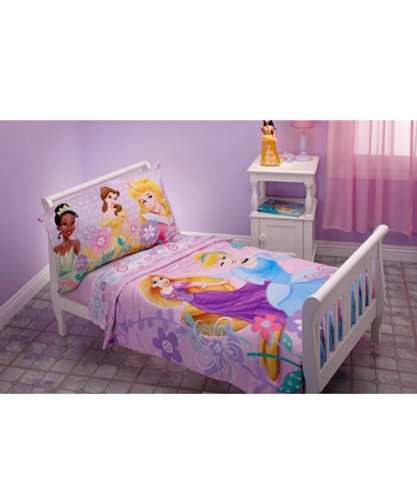 Disney Princess 4 Piece Toddler Bedding Set - Rapunzel, Aurora, Belle, Cinderella - 1