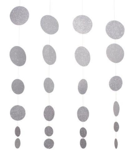 Creative Converting Glitz Silver Hanging Décor Diecut Glitter Circle Garland, 4 Strands Per Package