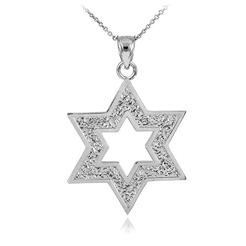 Textured 925 Sterling Silver Cutout Jewish Star of David Pendant Necklace, 20""
