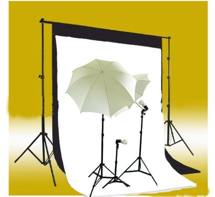 CowboyStudio Photography and Video Continuous Triple Lighting Kit, Backdrop Support System, Black & White Muslin Backdrops, and Carry Case for Support System