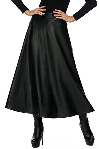 ZEARO-Mode-Femme-Jupe-Longue-Plisse-en-Cuir-Ccoupe-Evase-Taille-Haute