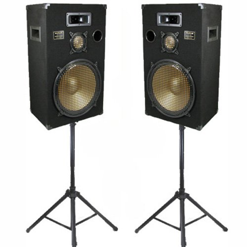 cheap new 15 speakers 3 way pro audio monitor pair and stands dj set for pa home or karaoke. Black Bedroom Furniture Sets. Home Design Ideas