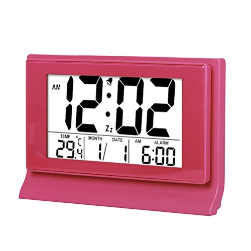 Hense 8 Creative Ultra big LCD Screen Intelligent backlight activated Sensor Bedside Digital Snooze Alarm Clock with Date and Temperature Display HA28 (Pink)