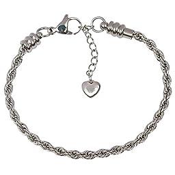 CHARM BRACELET for Women & Girls, Steel Rope Chain Bracelets, BONUS Jewelry Bag, European Style, Lobster Claw Clasp, 8 Inch
