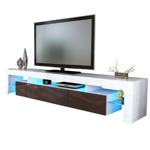 TV Stand Unit Lima V2 in White / Chocolate High Gloss Black Friday & Cyber Monday 2014