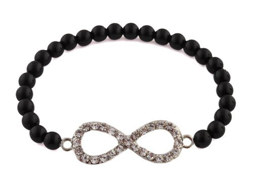 Ladies Black  Clear Stones Infinity Style Shamballah