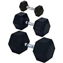 Champion Rubber Encased Solid Hex Dumbbell, 35-Pound