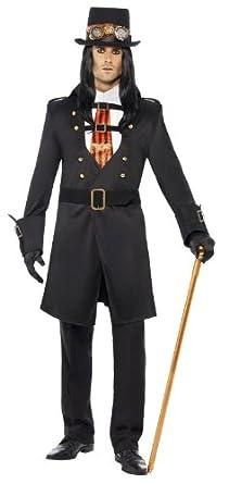 Smiffy's Steam Punk Victorian Vampire Costume, Black/Red/White, Medium