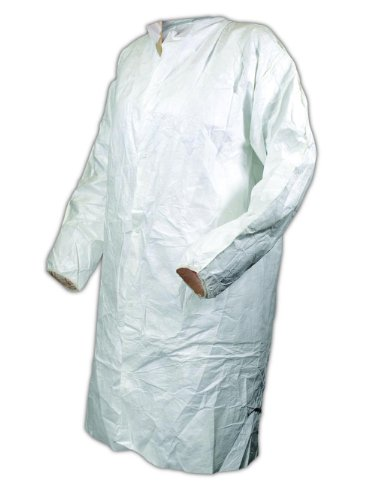 Magid CC1114M EconoWear Tyvek Disposable Lab Coat, Medium, White (Case of 50 each)