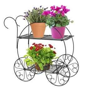 2-tiered garden cart beautifully displays flowers, potted plants, and more.