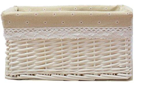Paniers pique-nique en osier pour cadeau boîte de rangement ou panier à fruits en tricot Panier, beige, 29cmx19cmx15cm