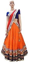 Sweety Plus Women's Geogette Lehenga Choli (Pack Of 2) (Mira_0014_Orange_Free Size)