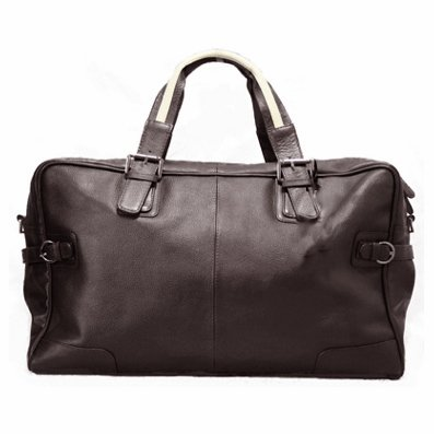 BACCINI Weekender ROBERTO Brown - duffle travel bag, genuine leather
