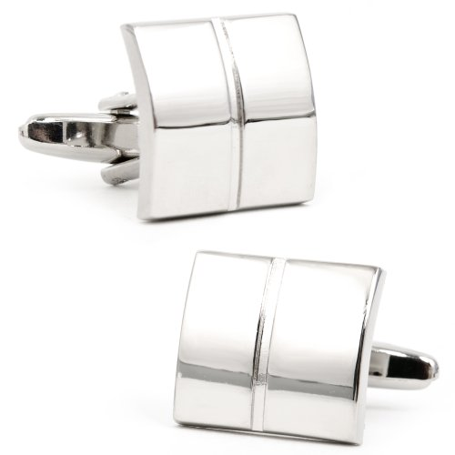 Divided Silver Square Cufflinks
