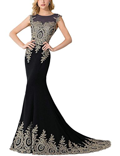 MisShow Women's Embroidery Lace Long Mermaid Formal Evening Prom Dresses£¬Black£¬Size 16
