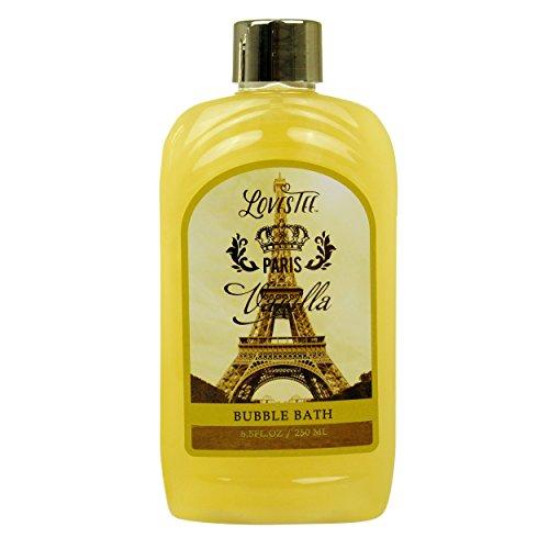 Paris Vanilla Spa Gift Set By Lovestee - Bath and Body Gift Basket, Gift Box, Gift Set Includes Paris Vanilla Shower Gel, Bubble Bath, Sensual Body Lotion, Bath Salt, Bath Puff and Rose Petal Soap