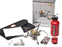 Primus P-321987 OmniLite Ti Camp Stove with 0.35-Liter Fuel Bottle, Heat Reflector and Windscreen, Grey