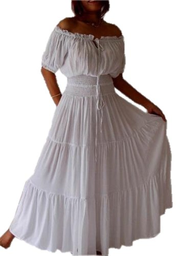 Lotustraders Maxi Peasant Dress Smocked Ethnic A763 (5X, White)