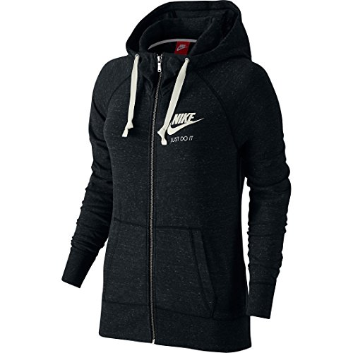 Nike Womens Gym Vintage Full Zip Hooded Sweatshirt Black/Sail 726057-010 Size X-Small