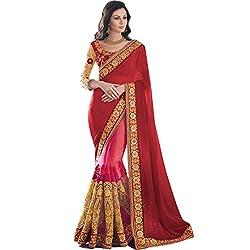 Vasu Saree For Women Georgette & Net Saree Embroidered Red Rose PartyWear Saree