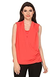Oyshi Women's Wrap Top (CL1001L, Coral, Large)