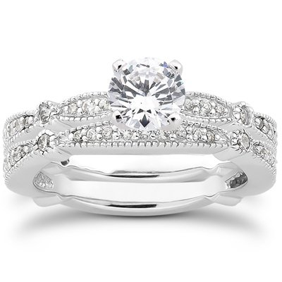 .95CT Pave Milgrained Diamond Ring Set 14K White Gold