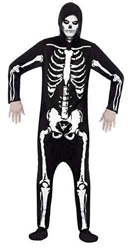 Smiffy'S Men'S Skeleton Costume All In One With Hood, Black/White, Large