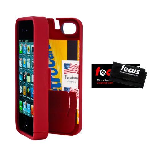 Great Price EYN EYNRED5 Red Case for iPhone 5 with Built-in Storage Space + Focus Micro Fiber Cleaning Cloth