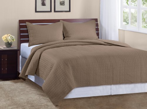 Fantastic Deal! Marcini Luxury Queen Size 3-piece Cotton Quilt Bedspread Set, Latte