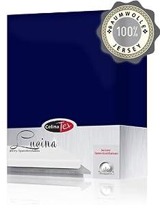 Jersey Spannbettlaken 140x200 - 160x200 cm Baumwolle Spannbetttuch Lucina dunkel blau
