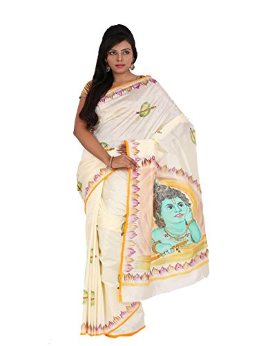Alankrita Dupion Raw Silk Brush Painted Kanchipuram Art Silk Sarees With Stones(Cream)