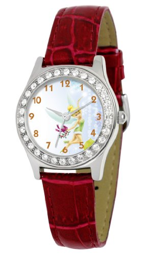 Disney Women's D1515S029 Queen Collection Tinker Bell Red Leather Strap Watch