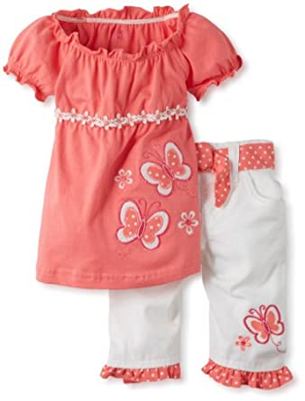 Young Hearts Baby-Girls Infant 2 Piece Butterfly Twill Capri Set, Medium Orange, 24 Months