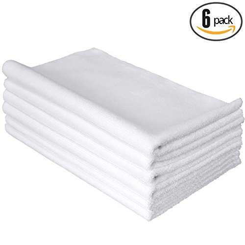 (6-Pack) THE RAG COMPANY 16 in. x 27 in. Spa, Gym, Yoga, Fitness and Workout Towel - Ultra Soft, Super Absorbent, Fast Drying 365gsm Premium Weight Microfiber Terry