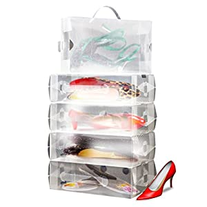 10 X Boites De Rangement Pour Chaussures Femme Empilables En Plastique Transparent Par Kurtzy Tm