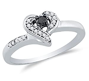 Size 9 - 925 Sterling Silver Black & White Round Diamond Engagement Ring - Channel Set Heart Center Setting Shape (1/8 cttw.)