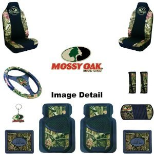 Mossy Oak Infinity Camo Car or Truck SUV Front & Rear Floor Mats Seat Covers Steering Wheel Cover Key Chain Seat Belt Pads CD Visor - Combo Kit Gift Set - 11PC
