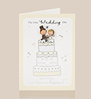 Bride & Groom Cake Wedding Day Card
