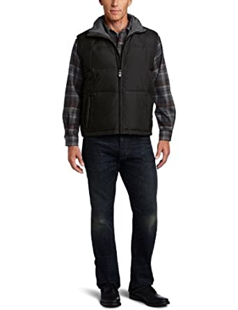 London Fog Men's Dayton Down Vest, Black, Small