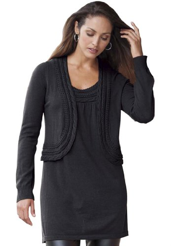Jessica London Plus Size 2-Pc Cable Sweater Set Jet Black,14/16