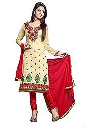 Parisha Beige Chanderi Embroidered Straight Unstiched Dress Material