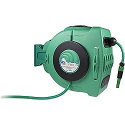 as - Schwabe Automatik-Wasserschlauch-Trommel für Garten, Garage, Landwirtschaft inklusive Wasserschlauch, grün, 12616