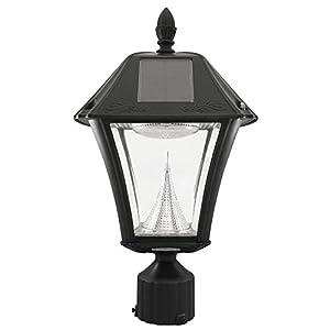 """Gama Sonic GS-105F-WW Solar Post Light, Baytown II Lamp w/3"""" Fitter"""