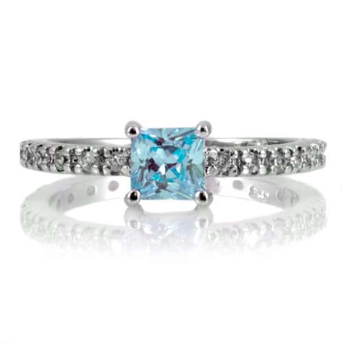 Minnie's Princess Cut CZ Promise Ring - 1 CT Aqua .925 sterling silver jewelry, Rhodium electroplated Size 6