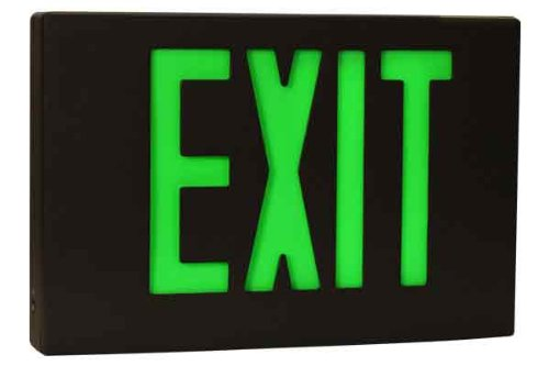 Sure-Lites CX71BK LED Die Cast Exit Sign, Black Face and Housing, Single Face, Red and Green Letters, Self-Powered