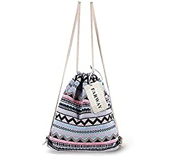 Farway Ethnic Drawstring Bag Outdoor Backpack Shopping Backpack Travel Shoulder Bag