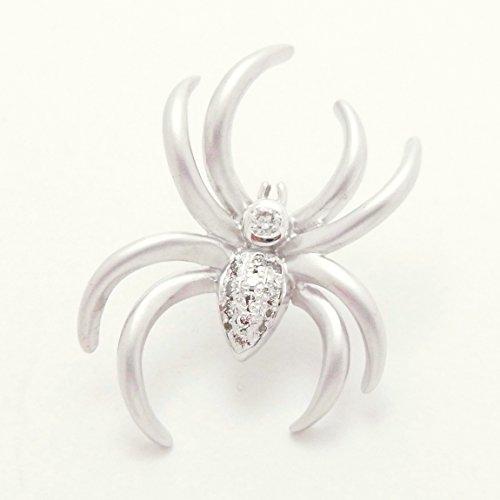 天然 ダイヤモンド 18金 K18WG ホワイトゴールド 蜘蛛 くも スパイダー タイタック タイピン ラベルピン