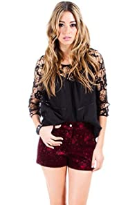 Deconstructed Lace Sleeved Top in Black