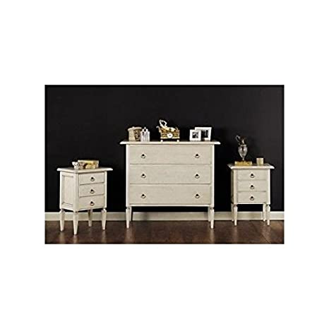 On Offer Bedside Table Antique Lacquered Wood Ivory or White X Bedroom